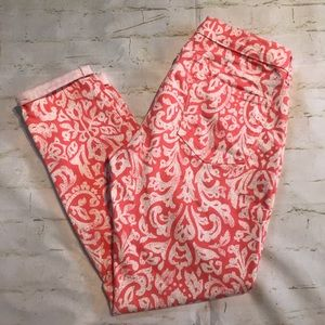 Old Navy Rockstar- Peach/White Floral Cropped Jean